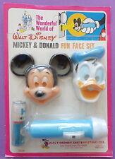 Vintage Walt Disney Mickey Mouse and Donald Duck Fun Face Flashlight Set NEW