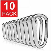 10-Pack D Shape Silver Aluminum Carabiner Clip Snap Hook Small Camping