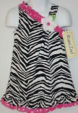 NWT NEW Rare too Zebra pink polka dot summer dress off the shoulder girl sz 3T