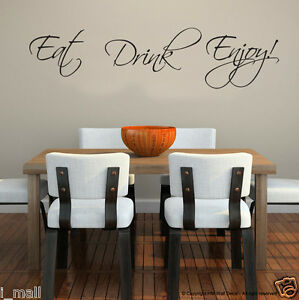 """"""" EAT DRINK ENJOY."""" inspirational Quote DIY  Removable wall decal"""