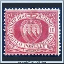 1899 San Marino Stemma cent. 10 rosso bruno n. 28 **