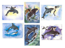 Orca Killer Whale Mermaid Note Cards from Original Watercolors by Grimshaw