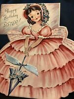 "#1976🌟Vintage SOUTHERN BELLE ""Happy Birthday, SISTER"" Parasol Greeting Card"