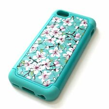 For iPhone 5C - HARD & SOFT RUBBER HYBRID DIAMOND BLING CASE BLUE PINK FLOWERS