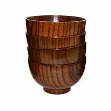 Set of 4 Japanese Style Solid Wood Bowl salad Rice Miso soup Fruits Gift/Decor