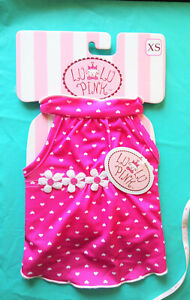 Pet clothes: LuluPink; Hearts w/DaisyTrim Dress Perfect for Spring/Summer , S