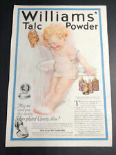 Williams Talc Powder Ad 1910's Baby & Tin Cans Glastonbury Connecticut