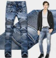 Designer Mens Ripped Patch Moto Jeans Straight Biker Slim Denim jeans Pants