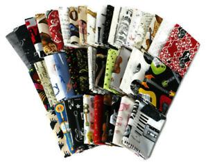 10 Fat Quarters Music Musical Instruments Notes Band Assorted Cottons M491.10