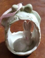 "Porcelain ornament rabbit in egg 3 3/4"" Greenbriar International"