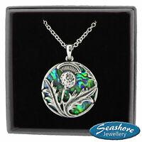 "Scottish Thistle Necklace Abalone Shell Pendant Silver Fashion Jewellery 18"""