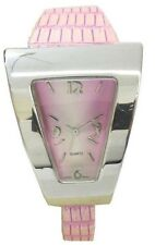 Ladies' Watch/Trapezoid Shape/Silvery Pink Dial/Quartz Analog/Leather Band
