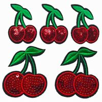Sequin Red Cherry Sew on/Iron on Embroidered  Patch Diy Craft Clothes Applique