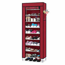 Dustproof 10 Tier 27 Pairs Shoes Cabinet Storage Organizer Shoe Rack Stand - RED