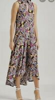 WOW scanlan theodore CDC Silk hi low multi colour print dress BNWT AU 6/ US 2