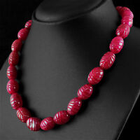 GENUINE 472.00 CTS EARTH MINED RICH RED RUBY OVAL SHAPE CARVED BEADS NECKLACE