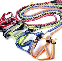 Nylon Strong Reflective Dog Leash Harness Lead Collar Safe Rope puppys  S M L