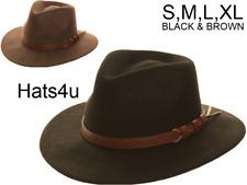 Mens Gents Fedora Hat Black or Brown 100% Wool Felt S M L XL Trilby New