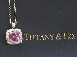 Tiffany & Co Platinum Pink Sapphire Diamond Legacy Pendant Necklace 1.99Ct 46Ct