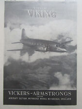 5/1946 PUB VICKERS ARMSTRONGS VIKING AIRLINER AVION FLUGZEUG ORIGINAL AD