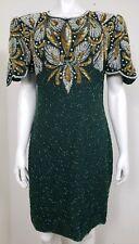 NEW Laurence Kazar Womens Dress Size Plus Large Beaded Sequin Short Sleeve Silk