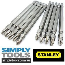 10 x Double Ended STANLEY # PH2 - 100mm Long Head Power Insert Bits