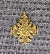"Ukrainian Cross Brass Pendant, Round, Regular Brass, 1 1/4"""