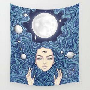 Moon Girl Third Eye Tapestry Background Trippy Home Mandala Wall Hanger Decor