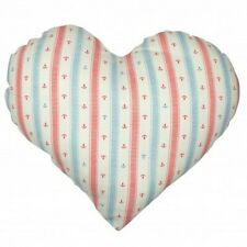 NEW Heart Shaped Scatter Cushion with Nautical Stripes & Anchor Pattern