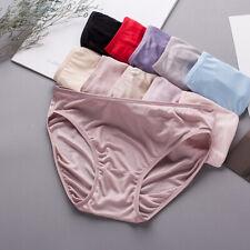 100% Silk Knit Women's Middle Waist Panties Underwear Lingerie M L XL 2XL SS014