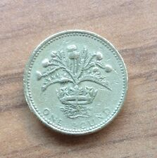THISTLE & CROWN £1  ROUND ONE POUND COIN ROYAL DIADEM REPRESENTING SCOTLAND 1989