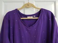 Quacker Factory 3X Purple Tonal Rhinestud Sparkle & Shine L/Sleeve Vneck Top