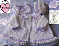 Baby coat knitting pattern DK, Matinee set. Romany cardigan, bonnet, booties,