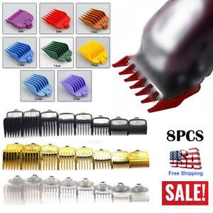 8Pcs Premium Cut Hair Clipper Guides Guards Limit Combs Set For Wahl Attachment