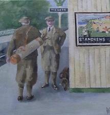 "Golf at St Andrews :  Nostalgic Original Oil Painting  Wendy Warwick 8"" X 8"""