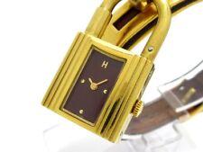Auth HERMES Kelly Watch Bordeaux Brown Gold 11174 Women's Wrist Watch
