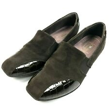 Clarks Womens US 6.5 UK 4 EUR 37 Brown Suede Patent Leather Slip on Loafers Shoe