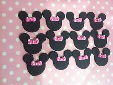 12 x Edible Fondant Minnie Mouse ears bows pink cake Cupcake Toppers decoration