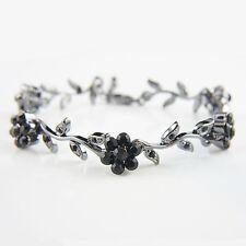 Antique style filigree black flowers bangle bracelet with Swarovski crystals