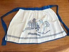 Hand Embroidered Blue Willow Motif Cotton Hostess Apron