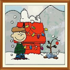 XMAS SNOOPY CROSS STITCH CHART 12.0 X 12.0Inches