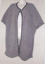Inhabit  Lambswool Cashmere Gray Brown Leather Trim Sleeveless Heavy Cardigan: 1