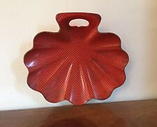 Antique Victorian Papier Mache Shell Shaped Tray Dish Red & Gold Stars Gilt