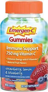 Emergen-C Gummies Immune Support Vit C & Zinc 45 ct Strawberry, Lemon, Blueberry