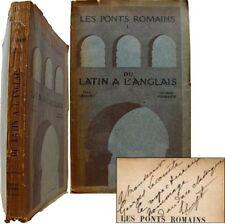 Les ponts romains du Latin à l'Anglais 1929 Crouzet Fournier envoi à G. Lecomte