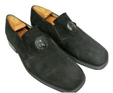 Olivier Nordstrom Black Suede Italian Loafers with Leather Medallion - Men's 11