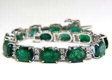 20.80ct green natural emerald diamonds tennis bracelet 14k G/VS