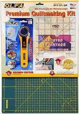 """Olfa quiltmaking Kit incluye 12""""x18"""" Estera de reparación automática, 6"""" X 6"""" Regla & Cortador de 45mm"""