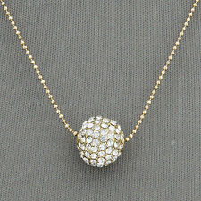 Fashion Women Crystal Rhinestone Pave Spherical Disco Ball Pendant Necklace Gift