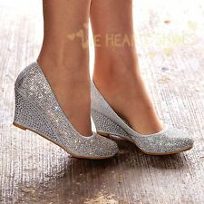 Ladies Diamante Sparkly Wedge Mid heel Evening Party Shoes Pumps size 3-8  30516